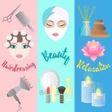 Het kappen, Schoonheid, Ontspanning Bannermalplaatjes Royalty-vrije Stock Afbeelding