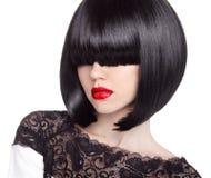 Het Kapsel van het manierloodje hairstyle Lange rand Korte haarstijl B stock foto