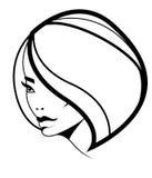Het kapselpictogram van het loodje, vrouwenmodel met volumehaar Royalty-vrije Stock Fotografie