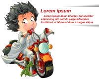 Het karakter berijdt krachtige rode snelle motorfiets stock illustratie