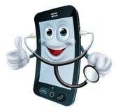 Het karakter die van de beeldverhaaltelefoon een stethoscoop houden Stock Fotografie