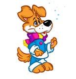 Het karakter die van de de winterhond de illustratie van het sneeuwbeeldverhaal kijken Royalty-vrije Stock Fotografie