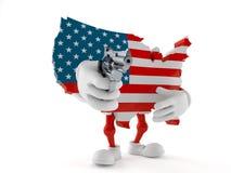 Het karakter die van de V.S. een kanon streven stock illustratie