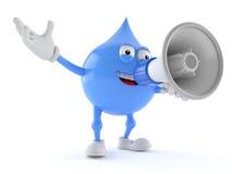Het karakter die van de waterdaling door een megafoon spreken royalty-vrije illustratie