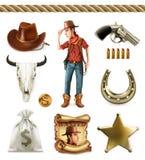 Het karakter en de voorwerpen van het cowboybeeldverhaal Westelijk avontuur Drie kleurenpictogrammen op kartonmarkeringen vector illustratie