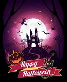 Het karakter en het element van Halloween ontwerpen kenteken op volle maanachtergrond, Truc of behandelen Concept, vectorillustra Royalty-vrije Stock Foto
