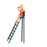 Het karakter van het badmeestermeisje in een rode zwempakzitting op vooruitzichttoren en het bekijken verrekijkersillustratie stock illustratie