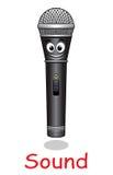 Het karakter van de beeldverhaalmicrofoon Stock Foto
