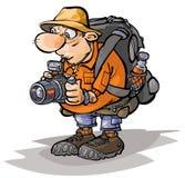Het karakter van de beeldverhaaltoerist Stock Fotografie