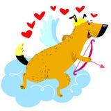 Het karakter van de de Daghond van Valentine ` s Hond in cupido of engelen buitensporige costu stock illustratie