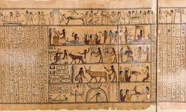 Het karakter van de Egyptische hiëroglief op papyrus stock foto's