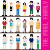 Het Karakter van de Familie van het pixel Stock Fotografie