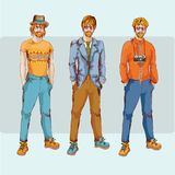 Het karakter van de Hipsterjongen - reeks Royalty-vrije Stock Afbeeldingen