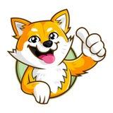Het karakter van de de hondmascotte van Shibainu, duim die omhoog het embleemmalplaatje glimlachen van het hondbeeldverhaal royalty-vrije stock fotografie