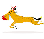Het karakter van de Kerstmishond in hertenkostuum met een rode neus royalty-vrije illustratie