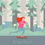 Het karakter van de meisjesschaatser op longboard De vector vlakke met de hand geschreven vrijheid van de beeldverhaalillustratie stock illustratie
