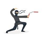 Het karakter van de Ninjamoordenaar in het volledige zwarte kostuum vechten met nunchaku in zijn handen, Japanse krijgskunstvecto royalty-vrije illustratie