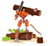 Het Karakter van de robothouthakker stock illustratie