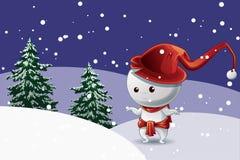 Het karakter van de sneeuwmens met rode hoed in Kerstmisfestival over sneeuw met bomenachtergrond stock illustratie