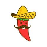 Het karakter van de Spaanse peperspeper De vectorillustratie van het beeldverhaalkarakter Geïsoleerd op wit Royalty-vrije Stock Afbeeldingen