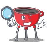 Het Karakter van detectivebarbecue grill cartoon Stock Afbeelding