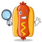 Het Karakter van detectivehot dog cartoon Stock Foto's