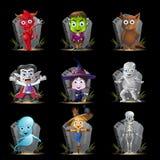 Het Karakter van Halloween en de Reeks van de Grafsteen Stock Afbeeldingen