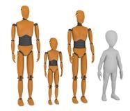 Het karakter van het beeldverhaal met de modellen van de autotest Stock Fotografie