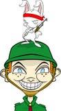 Het karakter van het beeldverhaal weinig kerel met konijnvriend Stock Foto