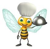 Het karakter van het bijenbeeldverhaal met chef-kokhoed en glazen kap Stock Afbeelding