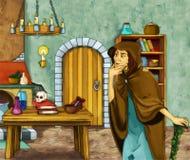Het karakter van het Fairytalebeeldverhaal - Oude heks in de oude ruimte Stock Foto's