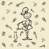 Het karakter van het het jonge geitjebeeldverhaal van het schetsmeisje Stock Afbeeldingen