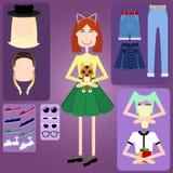 Het karakter van het Hipstermeisje met hipsterelementen royalty-vrije illustratie