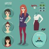 Het karakter van het Hipstermeisje met hipsterelementen, stijl, manier, vlakke illustratie, Stock Foto