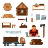 Het karakter van het houthakkersbeeldverhaal met de pictogrammen vectorillustratie van houthakkershulpmiddelen Stock Afbeeldingen