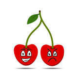 Het karakter van het kersenfruit op witte achtergrond Royalty-vrije Stock Fotografie