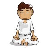 Het karakter van het meditatiebeeldverhaal Stock Afbeelding