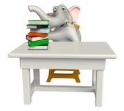 Het karakter van het olifantsbeeldverhaal met lijst en stoel en boekstapel stock illustratie