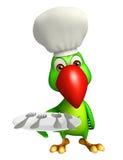 Het karakter van het papegaaibeeldverhaal met dinerplaat en chef-kokhoed Stock Fotografie