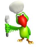 Het karakter van het papegaaibeeldverhaal met lepel en chef-kokhoed Stock Afbeeldingen
