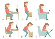 Het karakter van het vrouwenbeeldverhaal Correcte en Onjuiste Activiteitenhouding in Dagelijks werk - Zitting en het Werken met e Royalty-vrije Stock Afbeeldingen