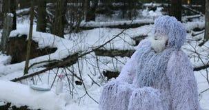 Het karakter van het yetisprookje in langzame de motielengte van de de winter bos Openluchtfantasie stock footage