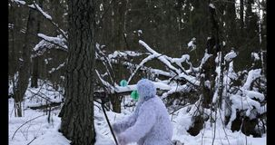 Het karakter van het yetisprookje in lengte van de de tijdtijdspanne van de de winter de bos Openluchtfantasie stock videobeelden