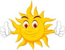 Het karakter van het zonbeeldverhaal met omhoog duim stock illustratie