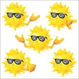 Het karakter van het zonbeeldverhaal met zwarte geplaatste zonnebril Stock Afbeelding