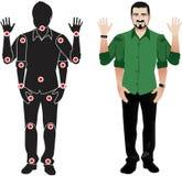Het karakter van het mensenbeeldverhaal in formeel overhemd, animatie klaar vectorpop met afzonderlijke verbindingen gebaren Met  Stock Foto