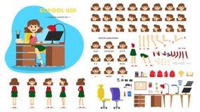 Het karakter van het schoolmeisje - voor de animatie wordt geplaatst die vector illustratie