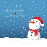 Het karakter van het sneeuwmanbeeldverhaal voor Kerstkaarten en banners vector illustratie