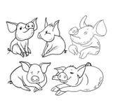 Het karakter van het stemmingsbeeldverhaal, leuk varken vector illustratie