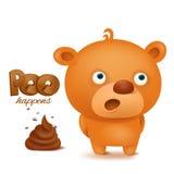 Het karakter van teddybeeremoji met bos van achterschip Royalty-vrije Stock Afbeeldingen